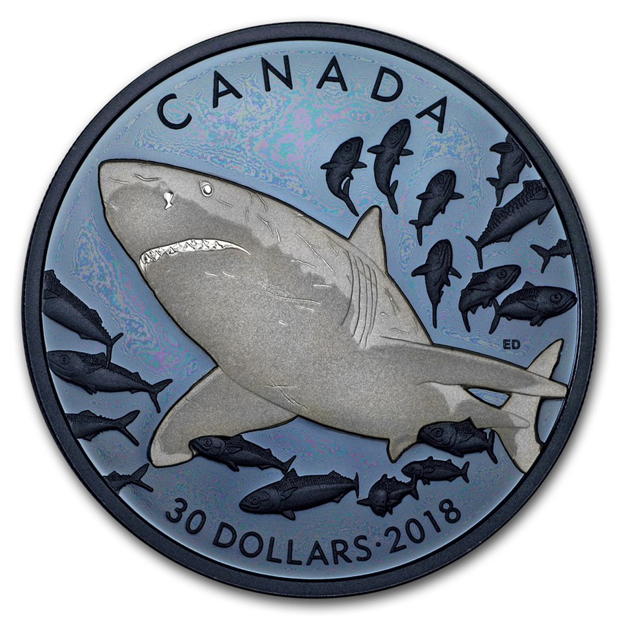 2018 Canada 2 oz Silver $30 Great White Shark Proof