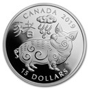 2019 Canada 1 oz Proof Silver $15 Lunar Year of the Pig