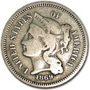 1869 3 Cent Nickel Fine