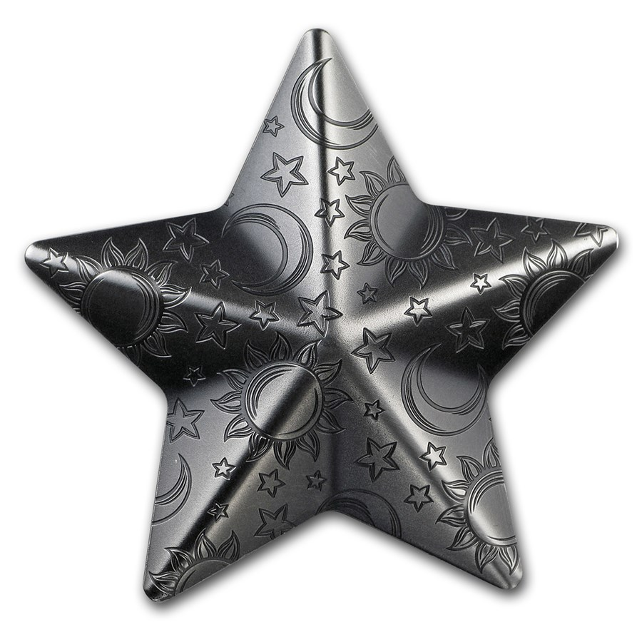 2018 Palau 1 oz Silver Antique Finish Silver Twinkling Star