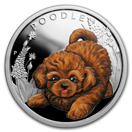 2018 Tuvalu 1/2 oz Silver Miniature Poodle Proof