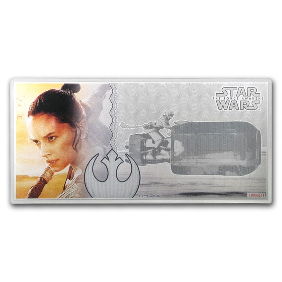 2019 5 gm Silver $1 Note Star Wars The Force Awakens: Rey w/Album