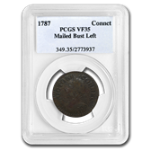 1787 Connecticut Cent Mailed Bust Left VF-35 PCGS