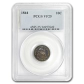 1844 Liberty Seated Dime VF-25 PCGS