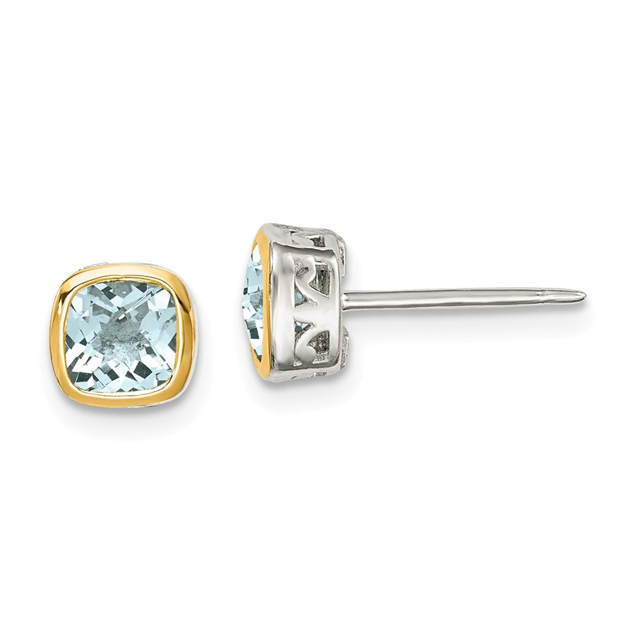 Sterling Silver w/14k Accent Aquamarine Square Stud Earrings