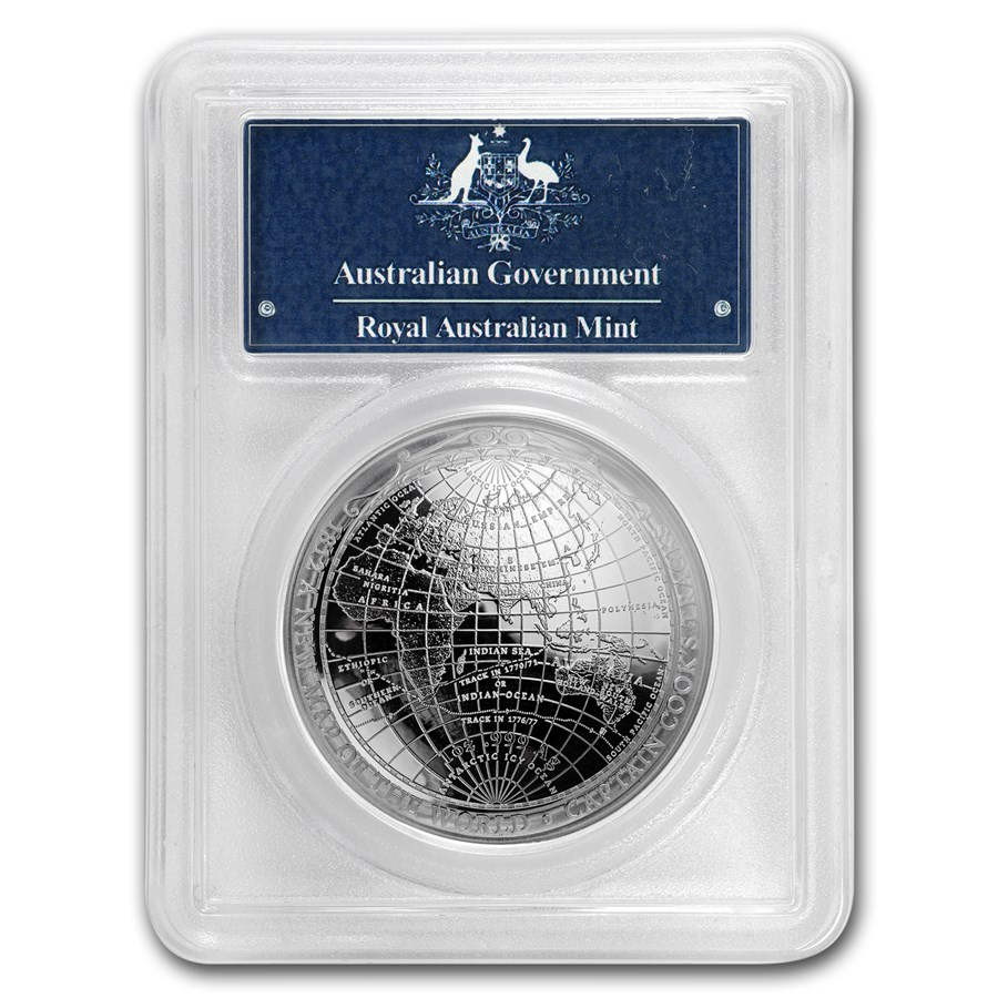2019 Australia 1 oz Silver $5 Map of the World PR-70 PCGS (FS)