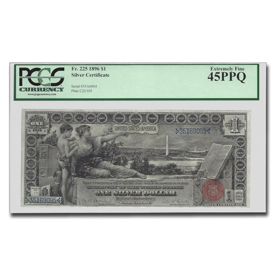 1896 $1.00 Silver Certificate Educational Note XF-45 PPQ PCGS