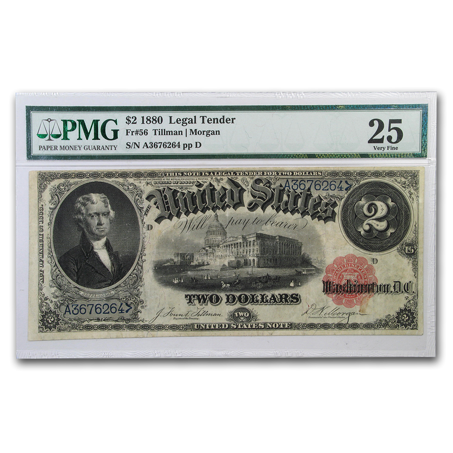 1880 $2.00 Legal Tender Jefferson VF-25 PMG