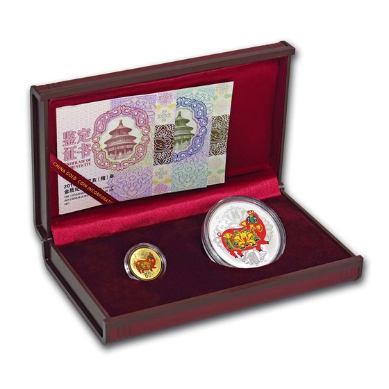 2019 China 2-Coin Year of the Pig Colorized Set (w/Box & COA)