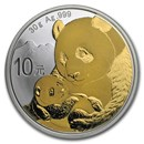 2019 China 30 gram Gold Gilded Silver Panda
