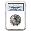 1861-O Liberty Seated Half NGC (SS-Republic, Book display)