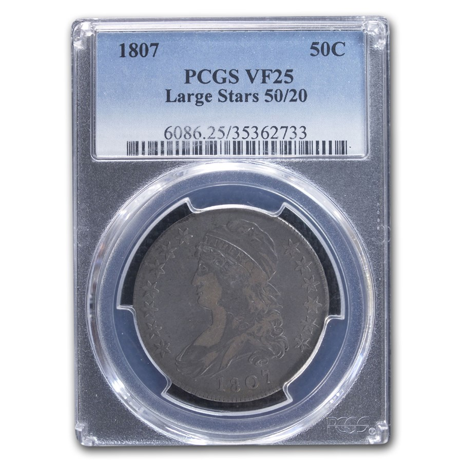 1807 Capped Bust Half Dollar VF-25 PCGS (Large Stars, 50/20)