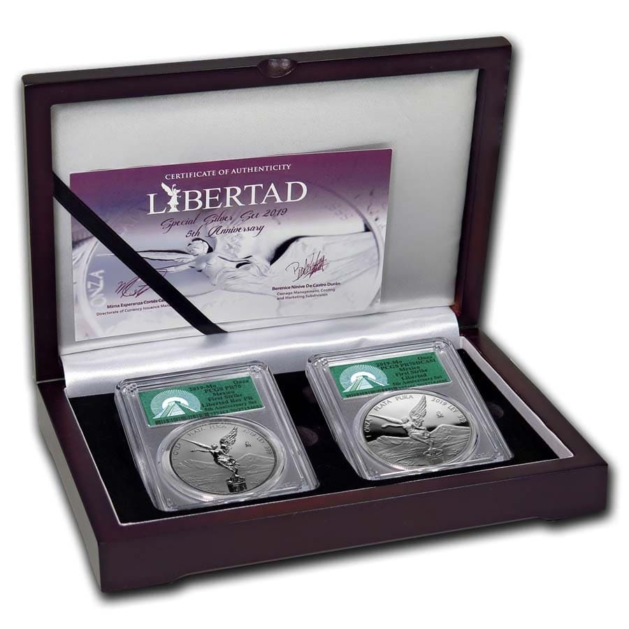 2019 Mexico 2-Coin Silver Libertad Set Proof/Reverse PR-70 PCGS