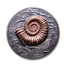 2018 Mongolia 1 kilo Silver 20,000 Togrog Ammonite Antique Finish