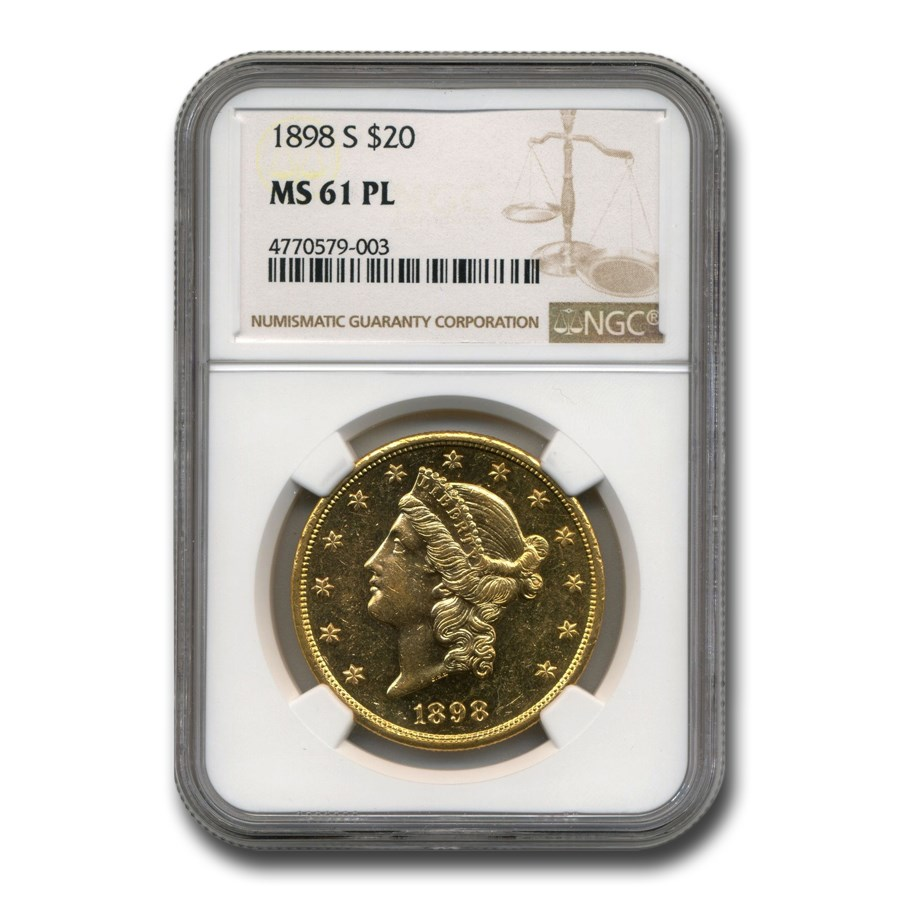 1898-S $20 Liberty Gold Double Eagle MS-61 NGC (PL)