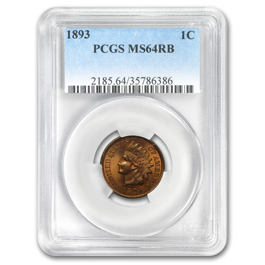 1893 Indian Head Cent MS-64 PCGS (Red/Brown)