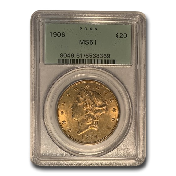 1906 $20 Liberty Gold Double Eagle MS-61 PCGS