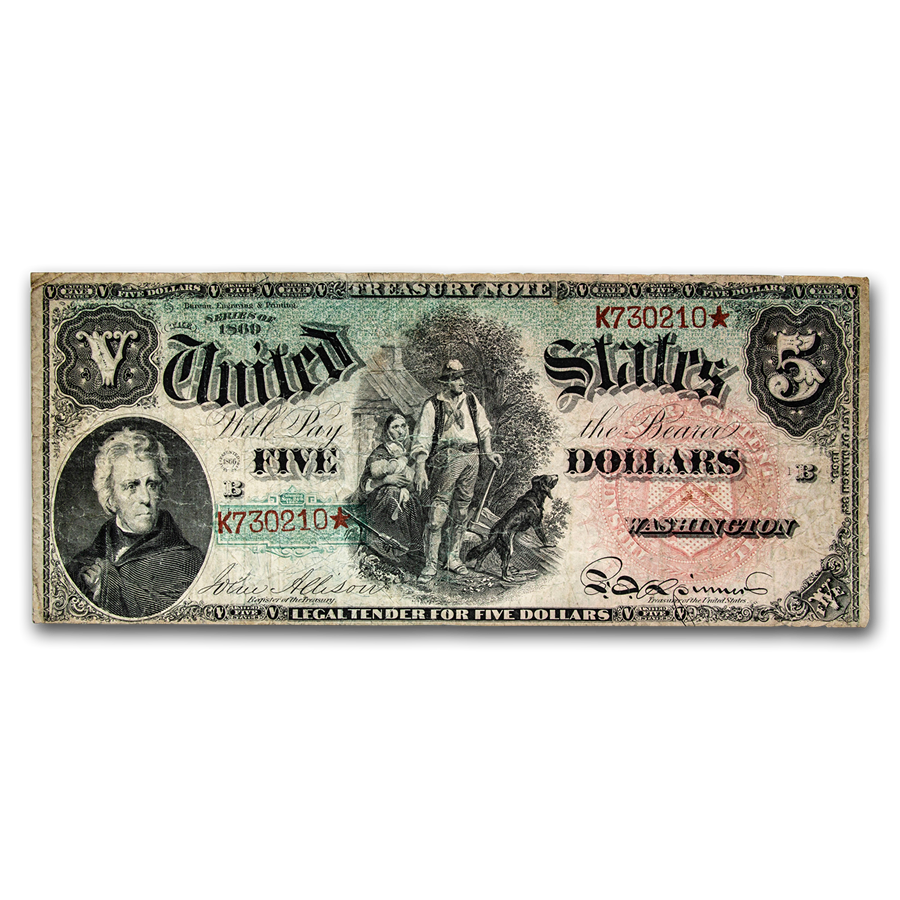 "1869 $5.00 Legal Tender Woodchopper ""Rainbow"" Fine"