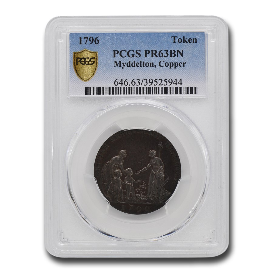 1796 Copper Myddelton Token PR-63 PCGS (Brown)