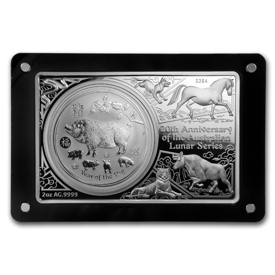 2019 Australia 20th Anniv of Lunar Series Coin/Bar Set (3 oz)