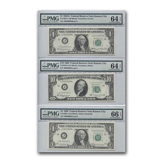 1963-1969 Trio of FRN Notes Unc 64-66 PMG (Same Serial Numbers)