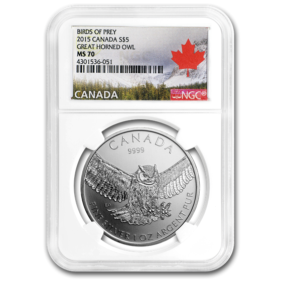 2015 RCM 1 oz Silver Birds of Prey Great Horned Owl MS-70 NGC