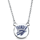 Sterling Silver Rhodium Plated NBA OKC Thunder Sm Enamel Necklace