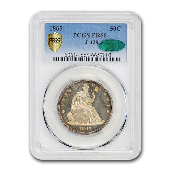 1865 Liberty Seated Half Dollar PR-66 PCGS CAC (J-429)