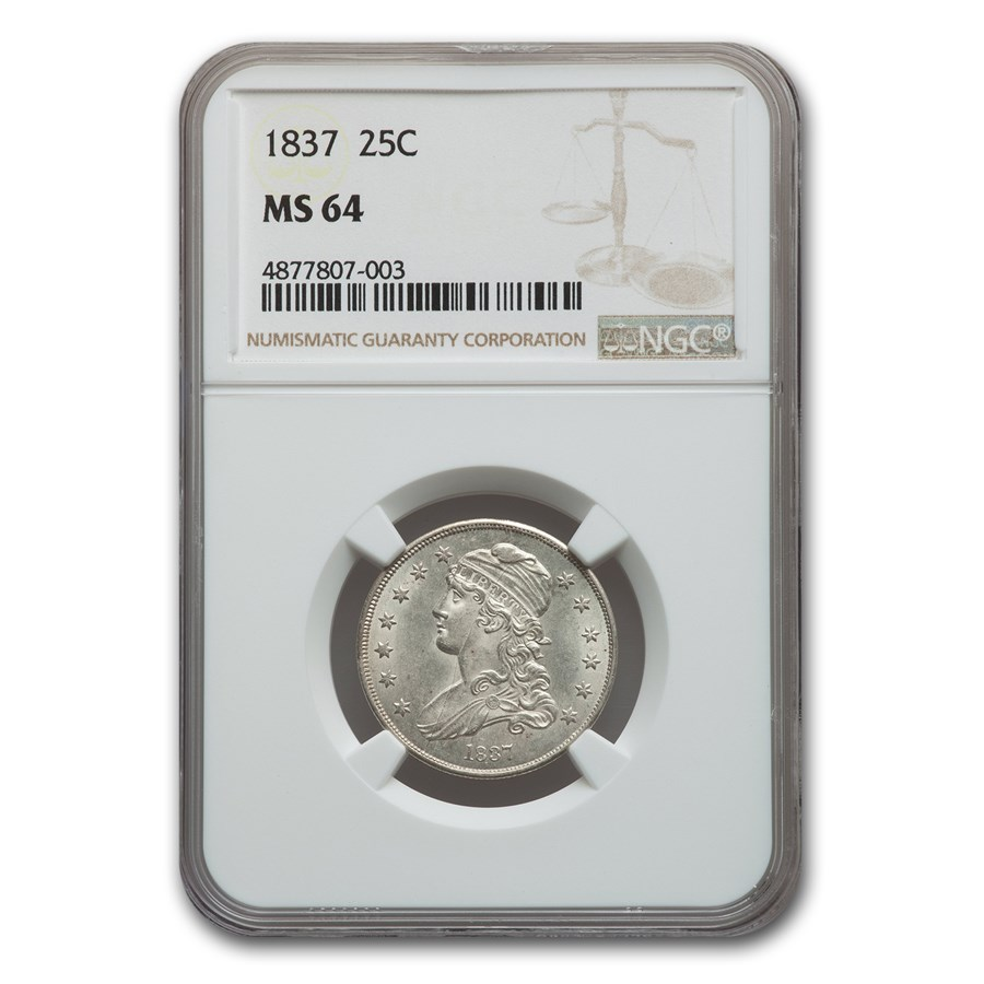 1837 Capped Bust Quarter MS-64 NGC