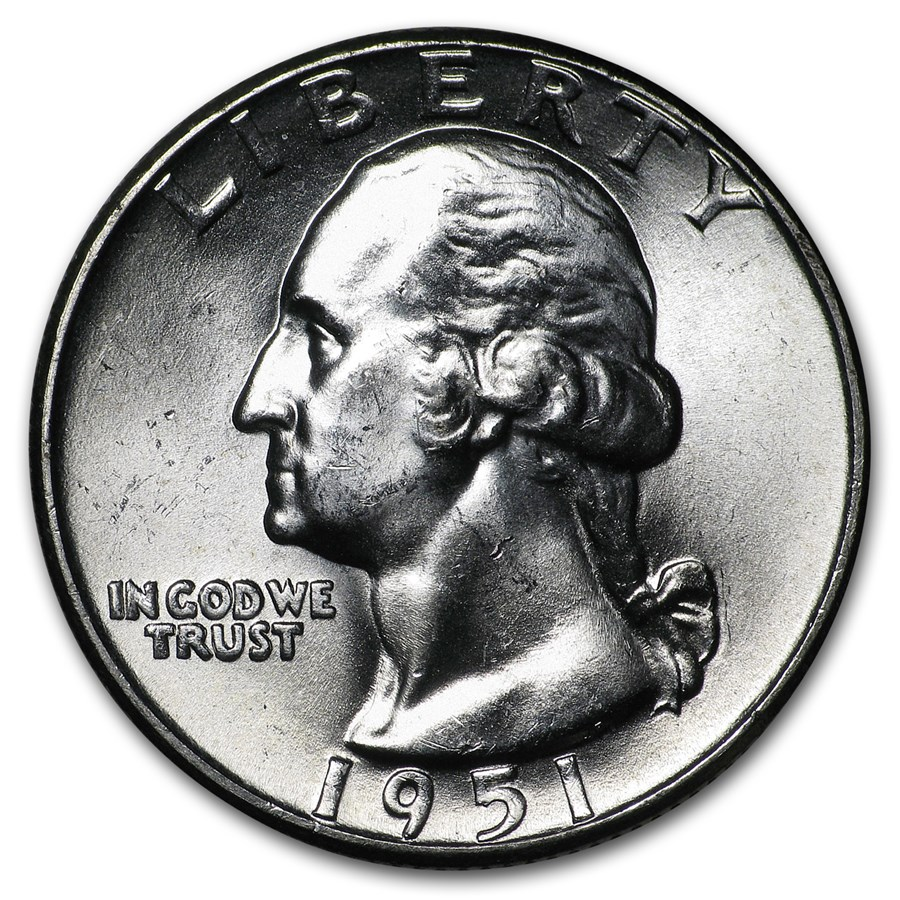 1951 Washington Quarter BU