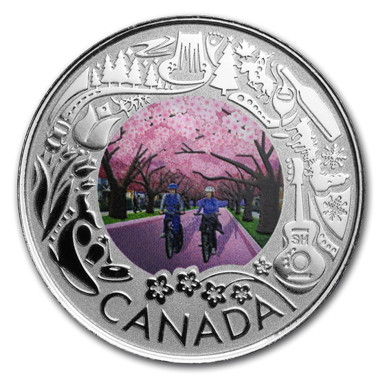 2019 Canada 1/4 oz Ag $3 Celebrating Canadian Fun: Cherry Blossom