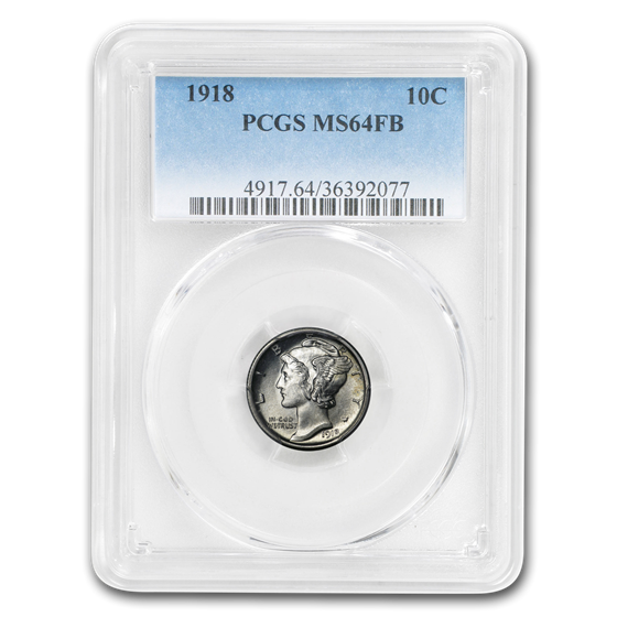 1918 Mercury Dime MS-64 PCGS (FB)