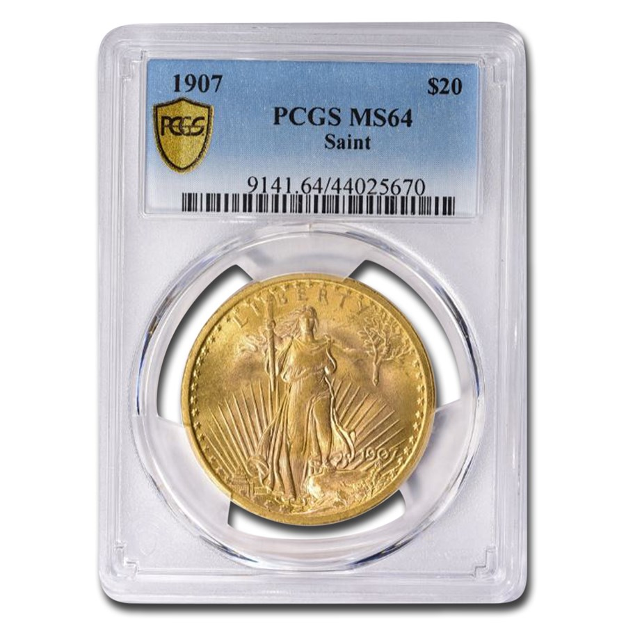 1907 $20 Saint-Gaudens Gold Double Eagle MS-64 PCGS
