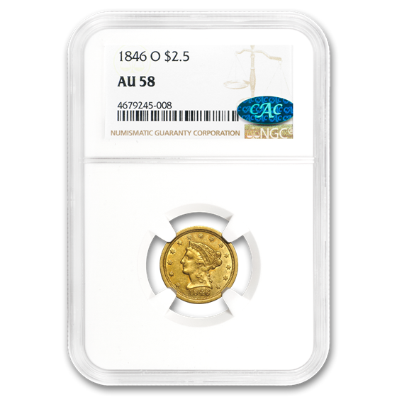 1846-O $2.50 Liberty Gold Quarter Eagle AU-58 NGC CAC