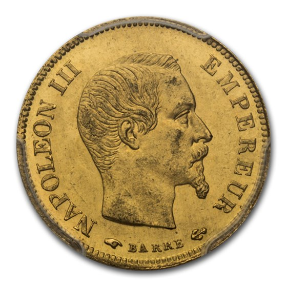 1857-A France Gold 10 Francs Napoleon III MS-63 PCGS