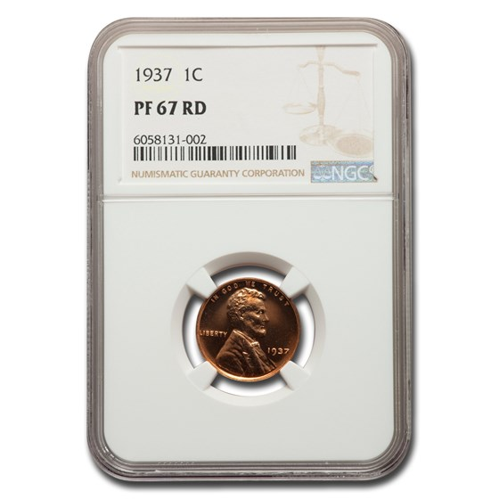 1937 Lincoln Cent PF-67 Cameo NGC (Red)