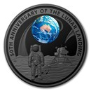 2019 AUS 1 oz Silver Prf Domed Apollo 11 Moon Landing 50th Anniv