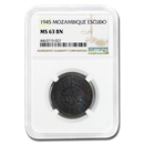 1945 Mozambique 1 Escudo MS-63 NGC (Brown)