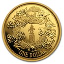 2019 China 1 oz Gold Tientsin Dragon Dollar Restrike (PU)
