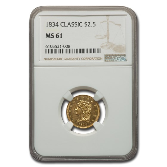 1834 $2.50 Gold Classic Head Eagle MS-61 NGC