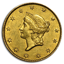 1849 $1 Liberty Head Gold Open Wreath AU