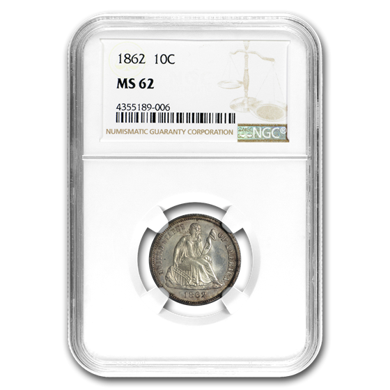 1862 Liberty Seated Dime MS-62 NGC
