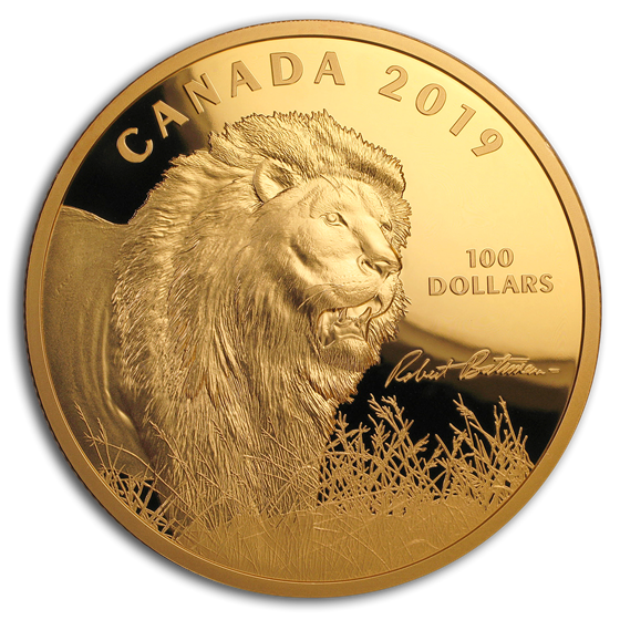 2019 Canada 10 oz Silver $100 Into the Light: Lion