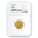 1839 $5 Liberty Gold Half Eagle AU-58 NGC