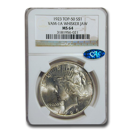 1923 Peace Dollar MS-64 NGC CAC (VAM-1A Whisker Jaw)