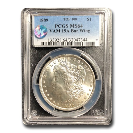 1889 Morgan Dollar MS-64 PCGS (VAM 19A Bar Wing)