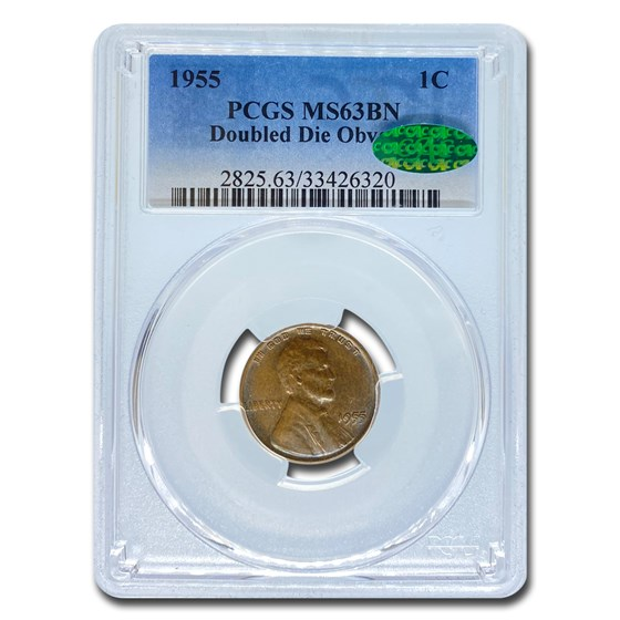 1955 Lincoln Cent Doubled Die Obverse MS-63 PCGS CAC (Brown)