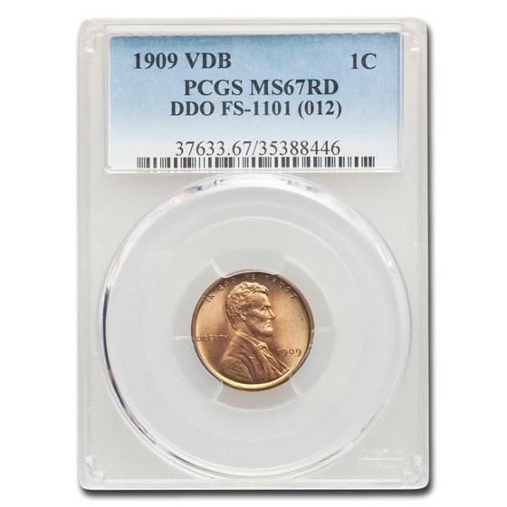 1909 VDB Lincoln Cent MS-67 PCGS (Red, DDO, FS-1101)