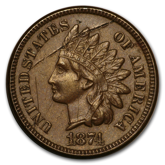 1874 Indian Head Cent XF Details (Cleaned, Corroded or Dmgd)