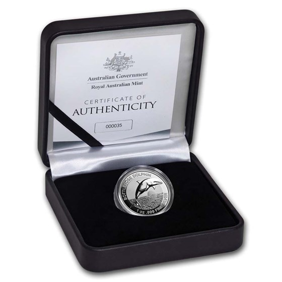 2019 AUS 1 oz Silver $5 Dolphin Proof (High Relief, w/Box & COA)